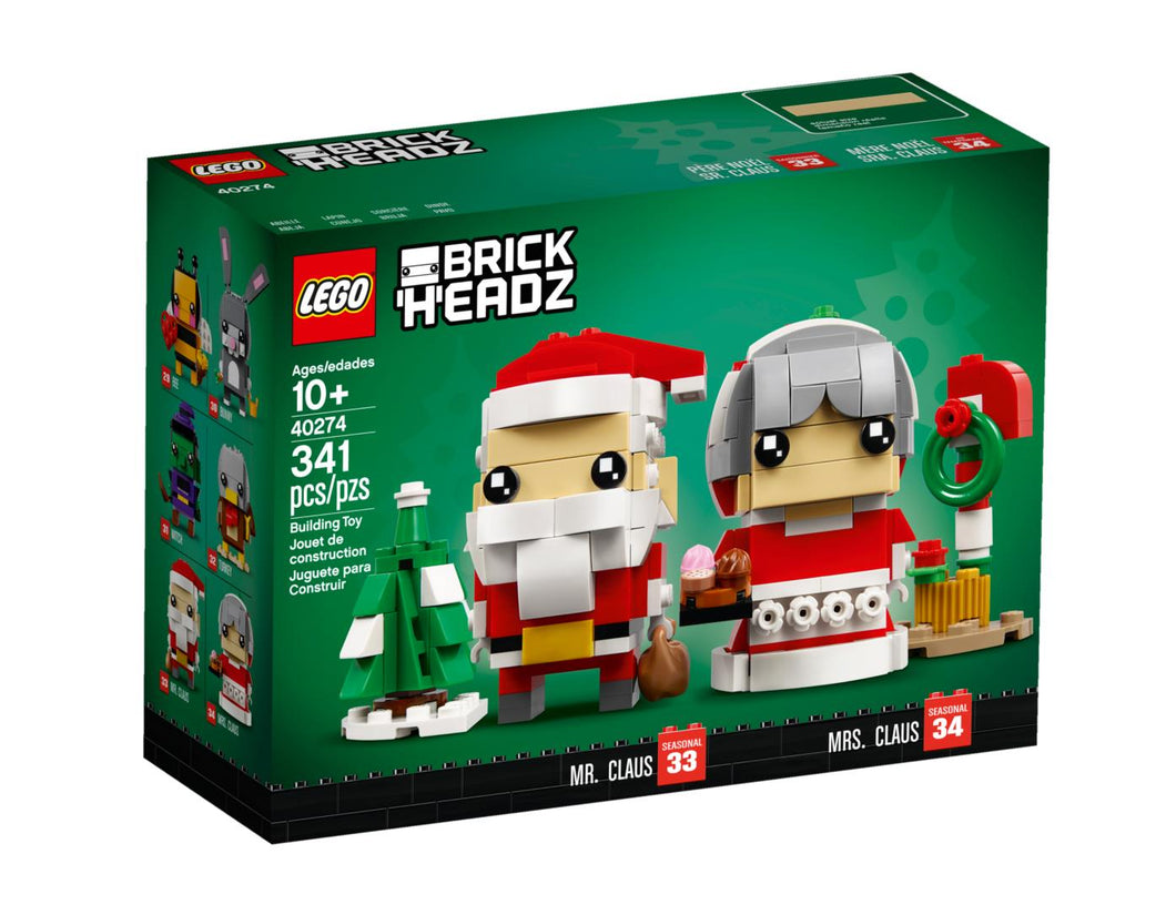 LEGO Brickheadz 40274 Christmas Santa Brickheadz Mr Claus & Mrs Claus