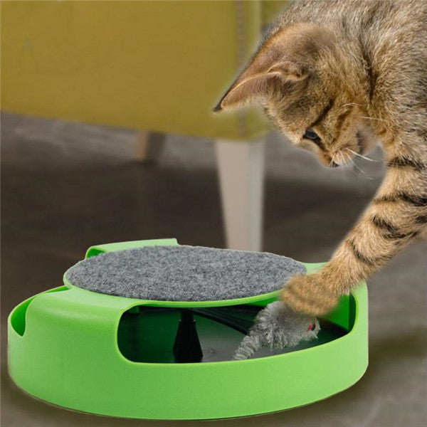 Cat Interactive Toys with a Running Mice and a Scratching Pad,Catch The Mouse