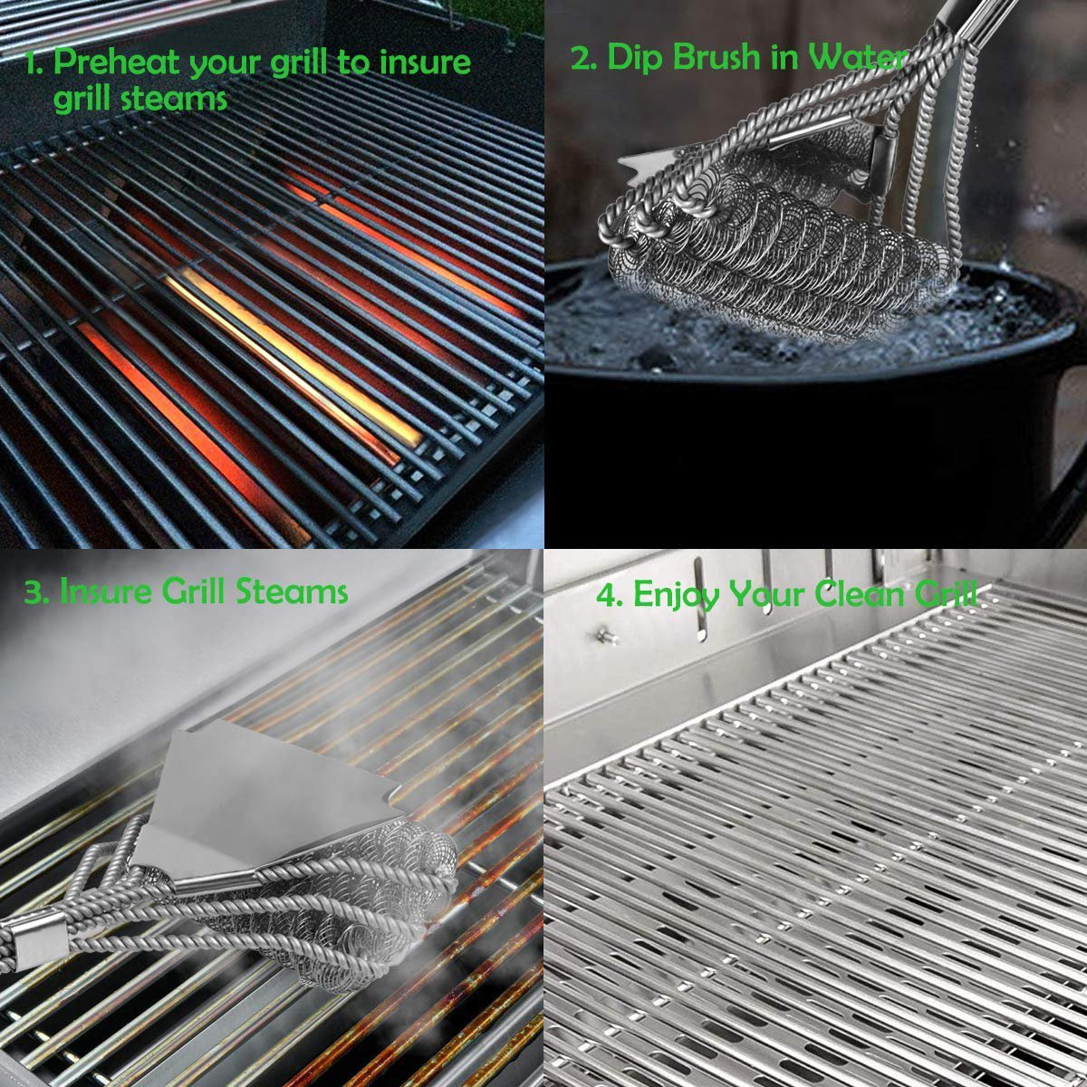 2019 Upgraded 3 in 1 Bristle Free BBQ Cleaning Brush, Stainless Safe Barbecue Cleaner Accessories Suitable for Porcelain, Ceramic, Steel, Iron All Grills