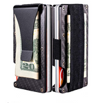 2019 Carbon Fiber Slim Wallet Credit Card Holder RFID Blocking Anti Scan Metal Cash Clip