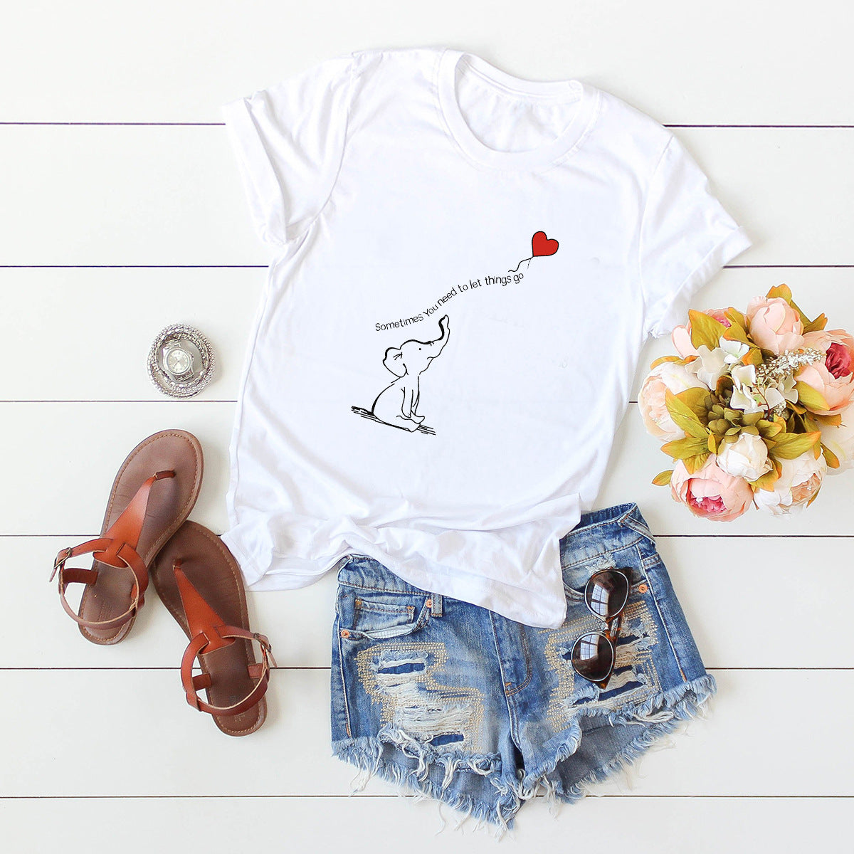 Elephant heart balloon tshirt white