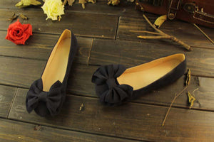 Black Flats with Bow on Top