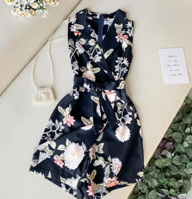 Dark Blue with flower print romper