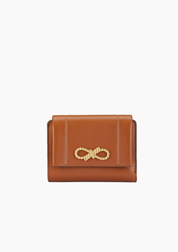 Rose Bow Trifold Compact Wallet | Cedar