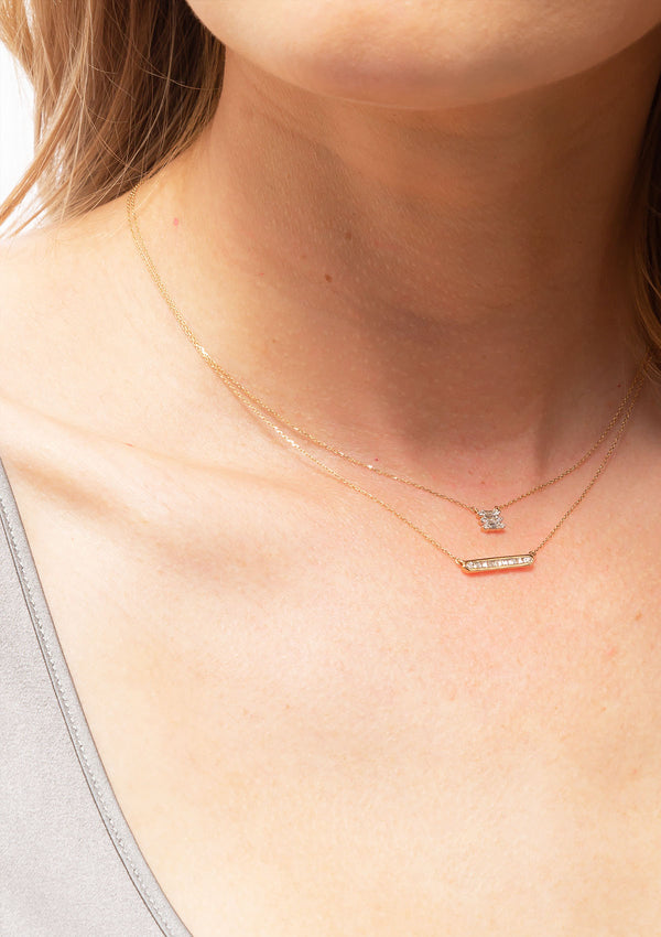 Triple Stack Baguette Necklace