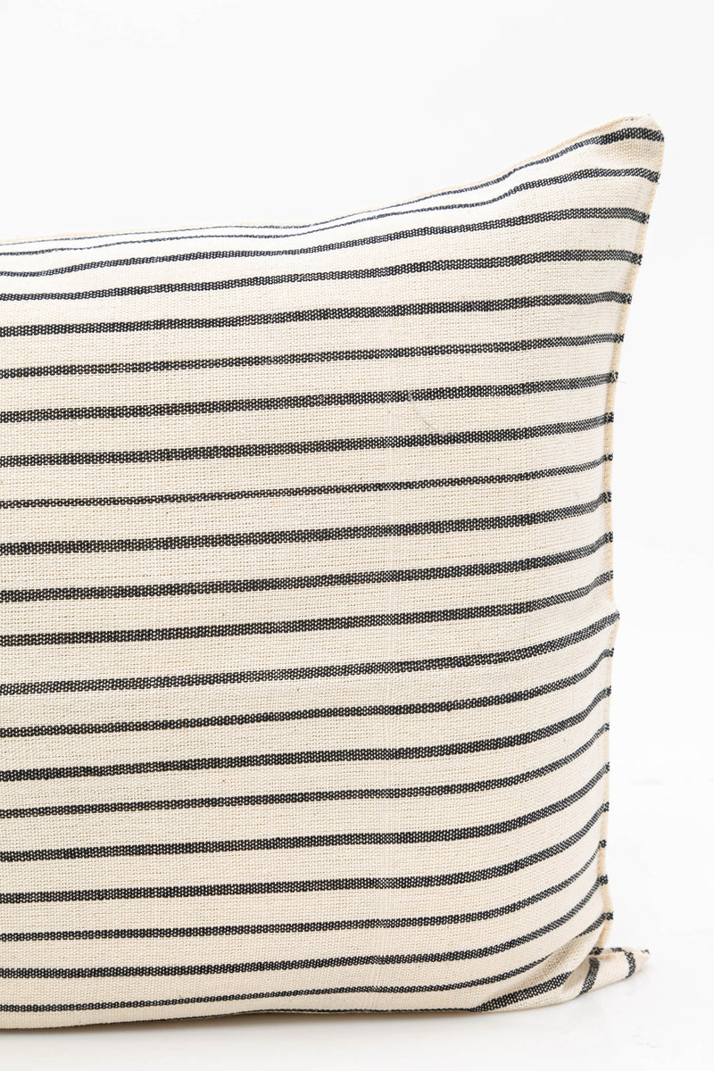 "Long Cushion, Natural/Navy Stripe, 14""x32"""
