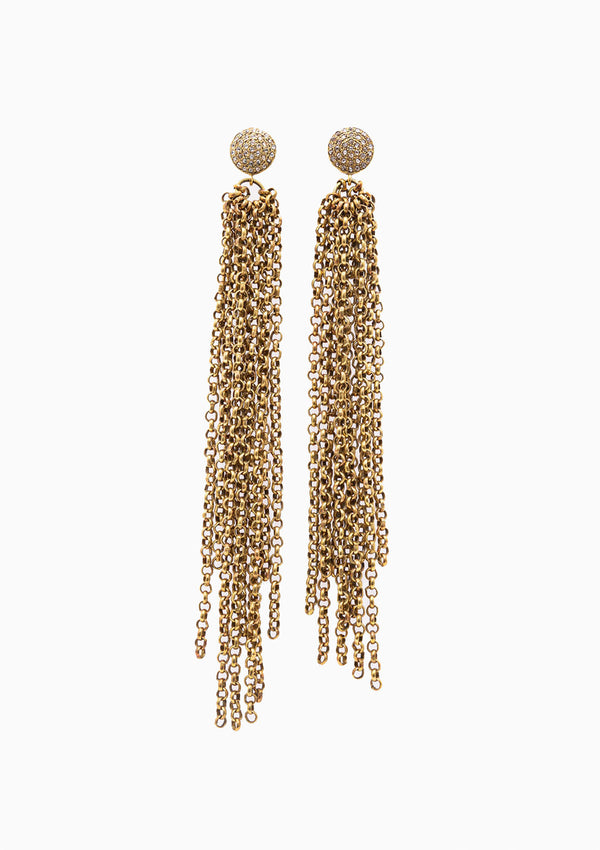 Pave Post Chain Earrings
