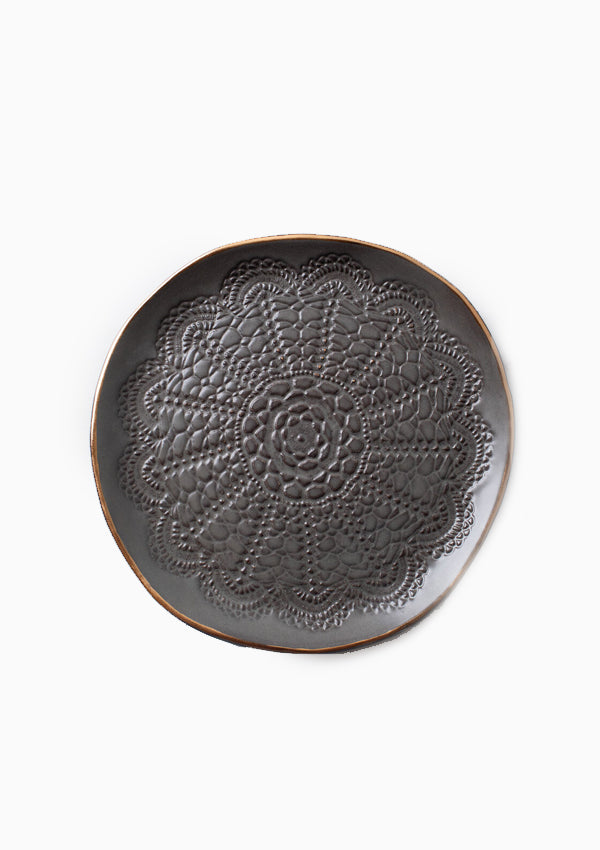Gold Brush Cookie Plate | Gunmetal