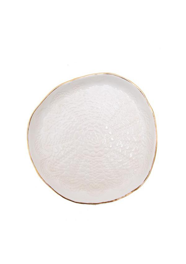 Gold Brush Cookie Plate | White