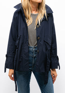 Short Recycled Jacket with Removable Hood | Navy