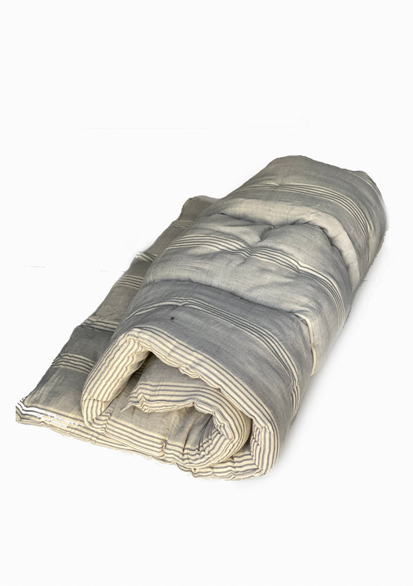 "Bedroll Twin, Natural/ Dove Blue Quad Stripe | 36""x75"""
