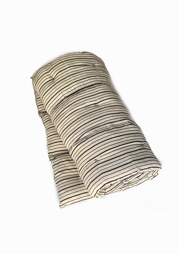 "Bedroll Twin, Natural/Navy Triple Stripe | 36""x75"""
