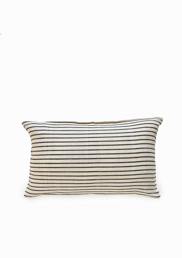 "Cushion, Natural/Navy Stripe, 12""x20"""