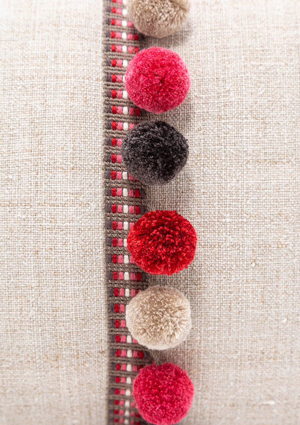 Linen Pillow With Poms