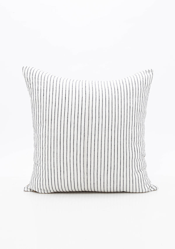 Narrow Charcoal Stripe Linen Pillow, 20x20