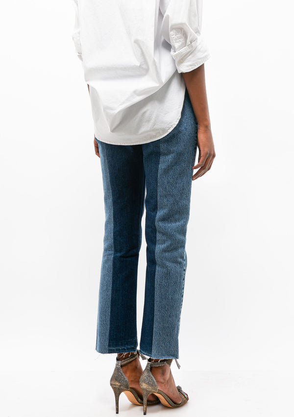 The Twin Straight Leg Jean | Dark/Mid Blue Contrast