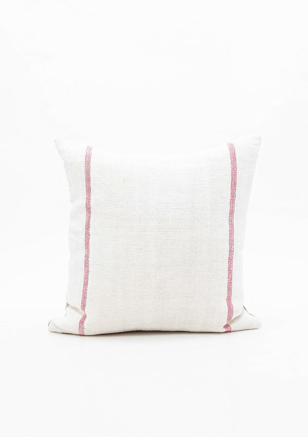 "Double Red Stripe Grain Sack Pillow, 17""x17"""