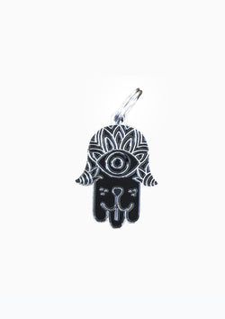 Hamsa Dog Tag Black