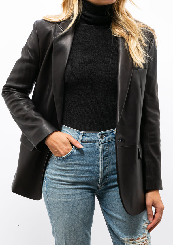 Tracy Leather Blazer | Black