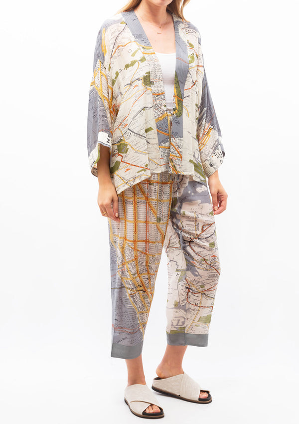 New York Map Short Kimono