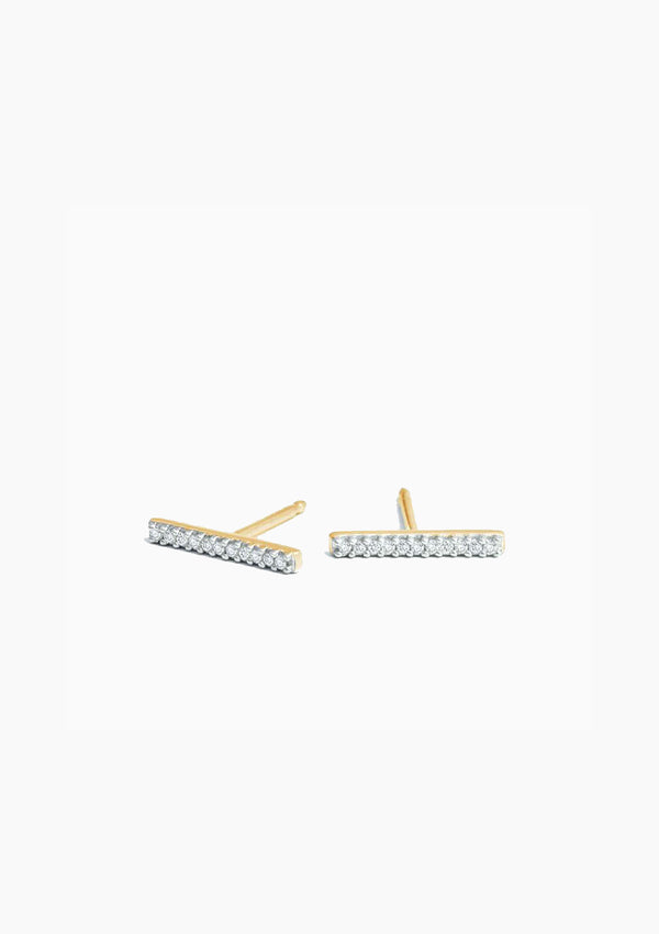 Pave Bar Posts | Yellow Gold