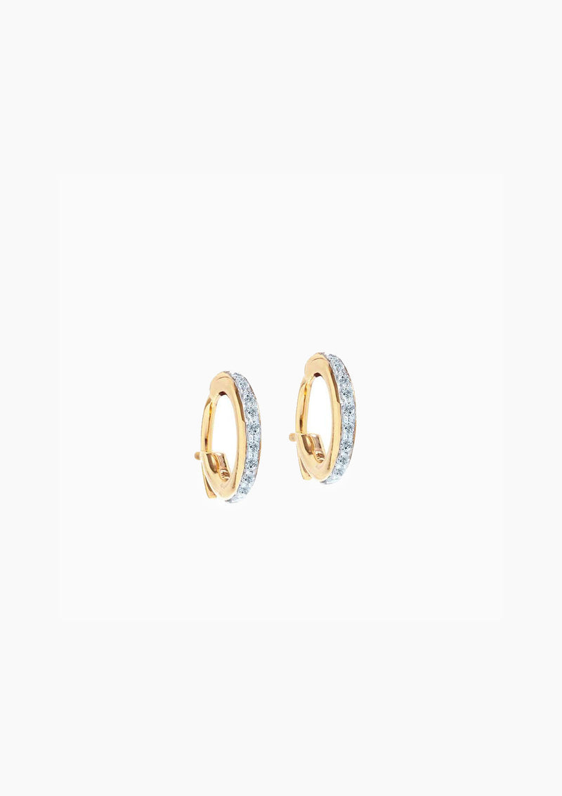 Pave Huggie Hoops | Yellow Gold