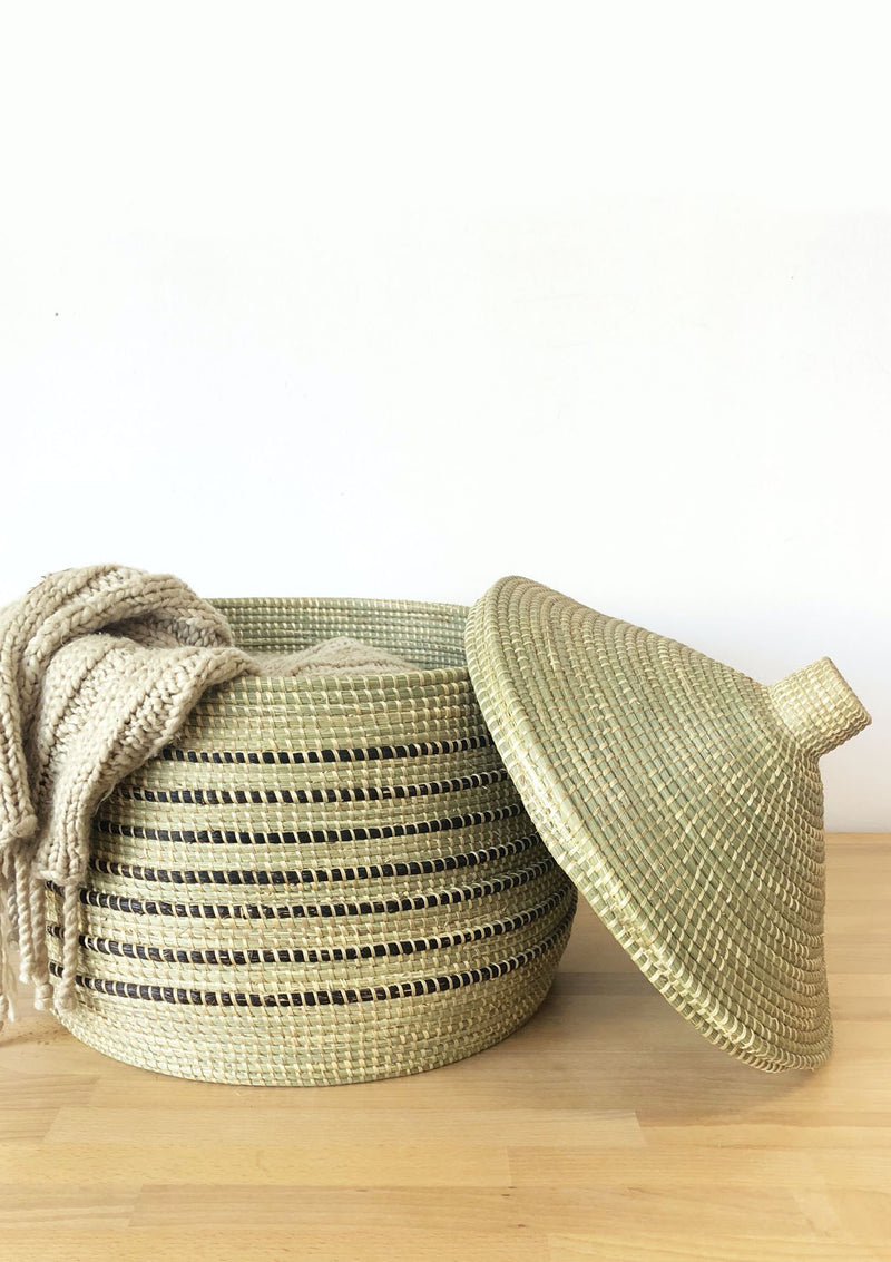 Wave Floor Lidded Basket | Black Stripes