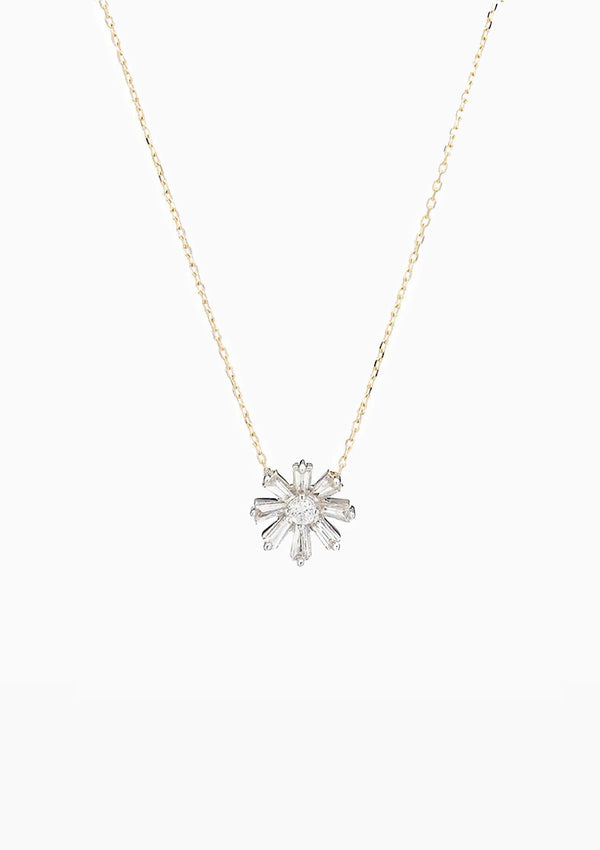 Diamond Baguette Flower Necklace | Yellow Gold