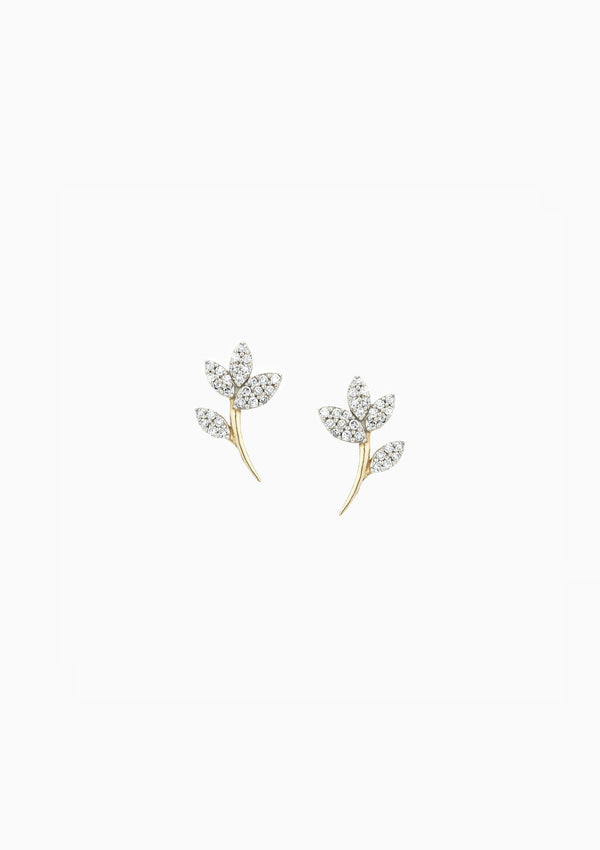 Garden Party Pave Flower Posts | Yellow Gold