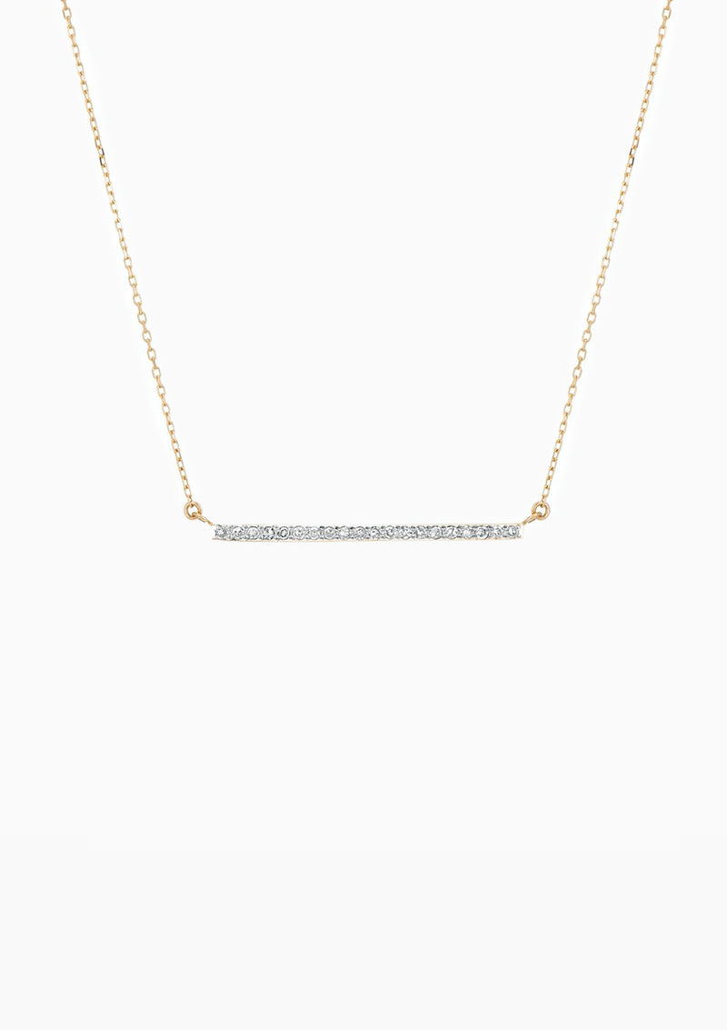 Large Pave Bar Necklace | Yellow Gold