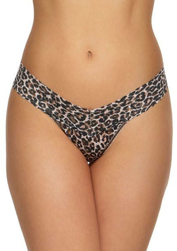 Signature Lace Low Rise Thong | Leopard