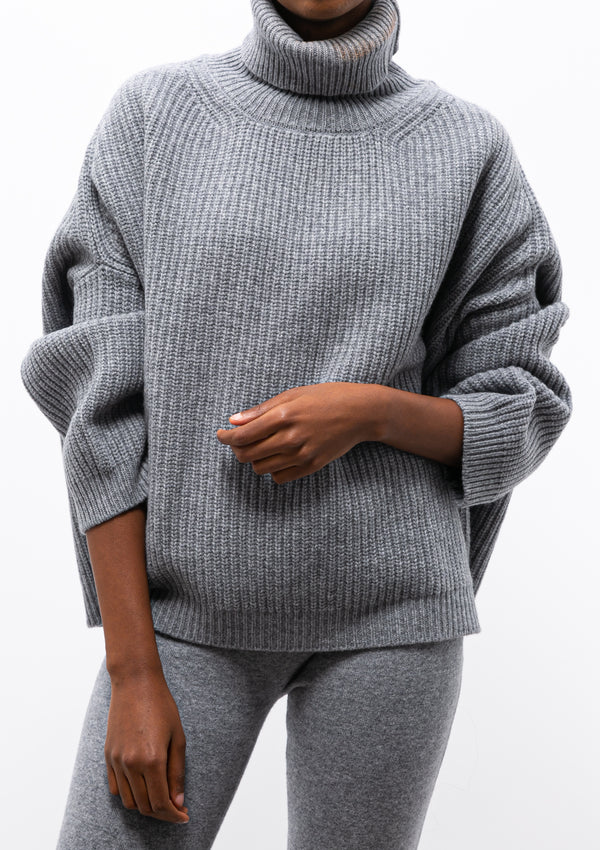 Cashmere Cropped Jumper | Charcoal