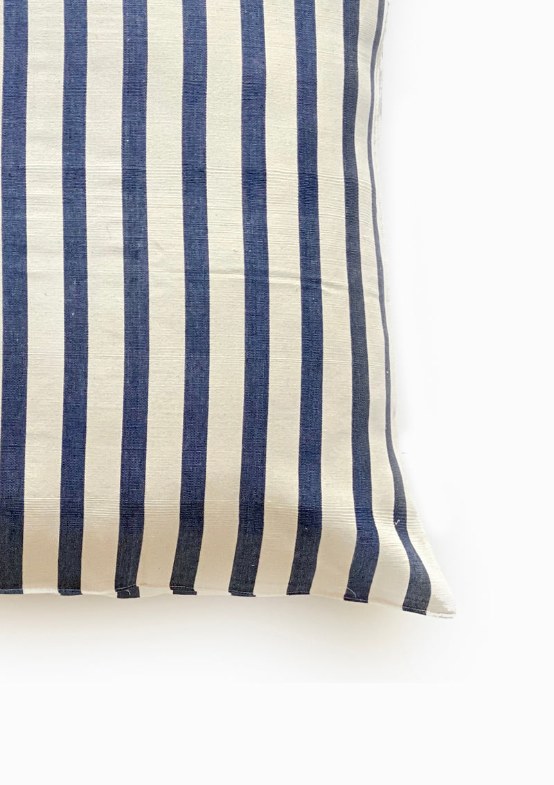 "Floor Cushion, Natural/Navy Wide Stripe, 32""x32"""