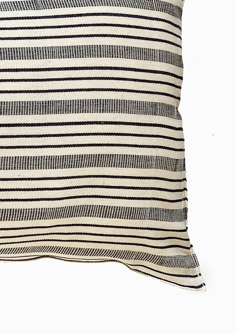 "Long Cushion, Natural/Navy Quad Stripe, 14""x32"""