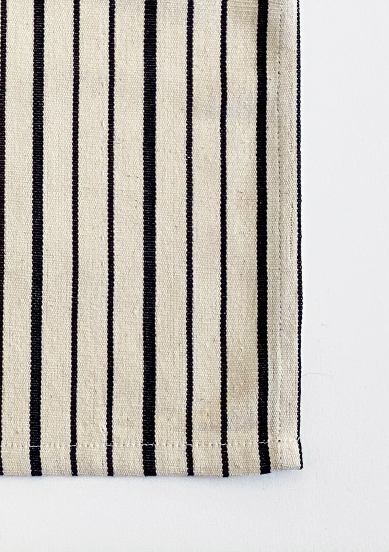 Napkin, Natural/Navy Triple Stripe