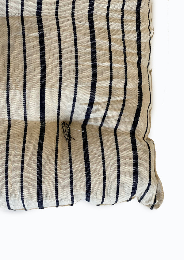 "Tufted Chair Cushion, Natural/Navy Triple Stripe, 16""x16"""