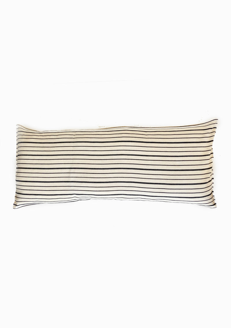 "Long Cushion, Natural/Navy Triple Stripe, 14""x32"""