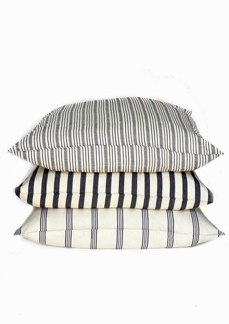 "Floor Cushion, Natural/Blue Safari Stripe, 32""x32"""