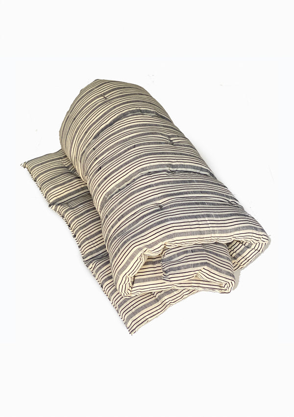 "Bedroll Twin, Natural/Navy Quad Stripe | 36""x75"""