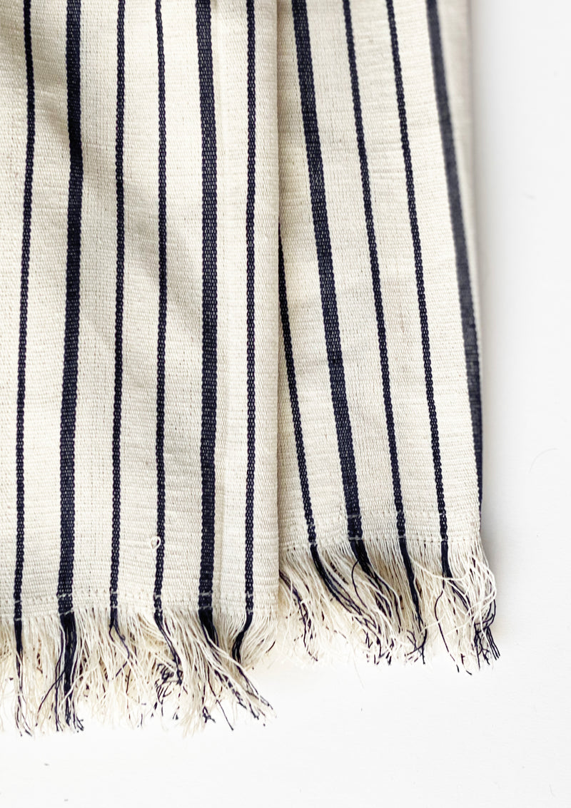"Fringed Throw With Pouch, Natural/Navy Triple Stripe, 40""x71"""