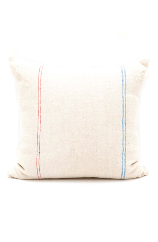HFS Linen Pillow, Red/Blue Stripe, 18x18