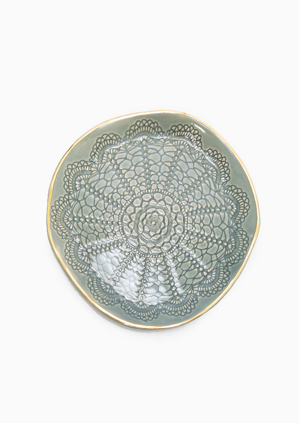 Gold Brush Cookie Plate | Moss
