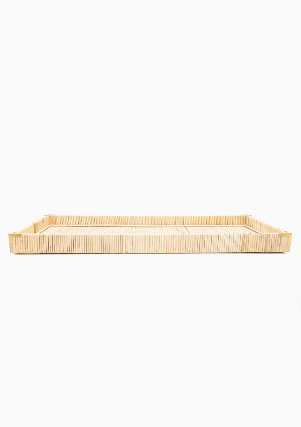 Oversized Rattan Tray, Large