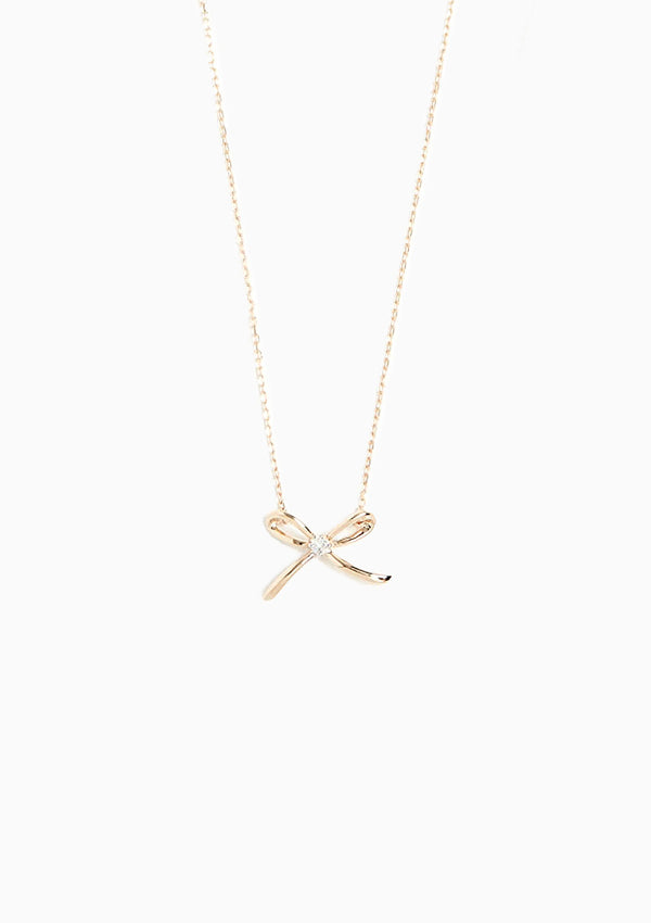 Tiny Single Diamond Bow Necklace