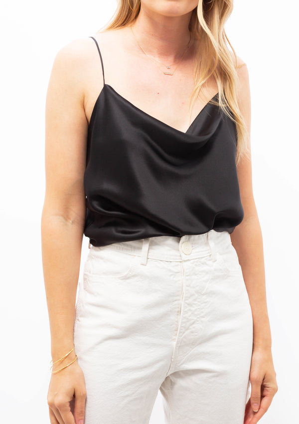 Silk Charmeause Cowl Neck Cami | Black