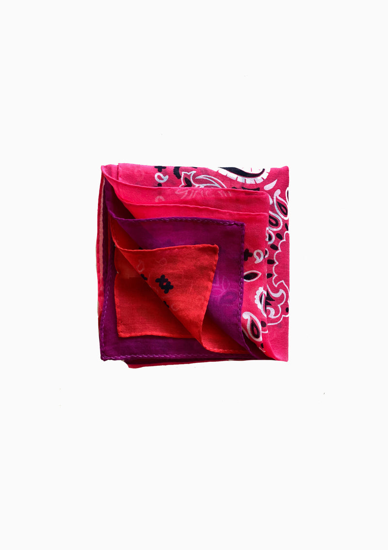 Cotton Triple Bandana - Pink/Purple/Red