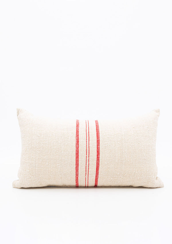 Grain Sack Pillow with Red Stripe