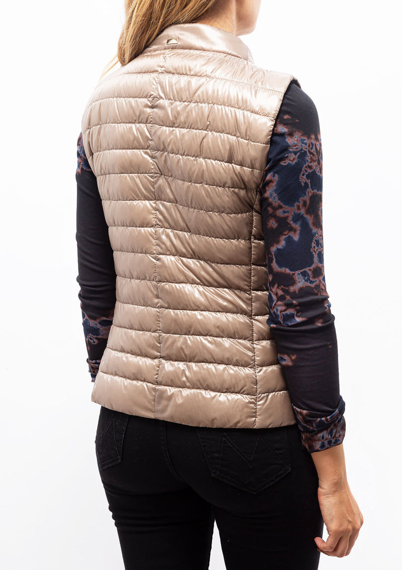 Classic Nylon Short Fitted Vest | Taupe