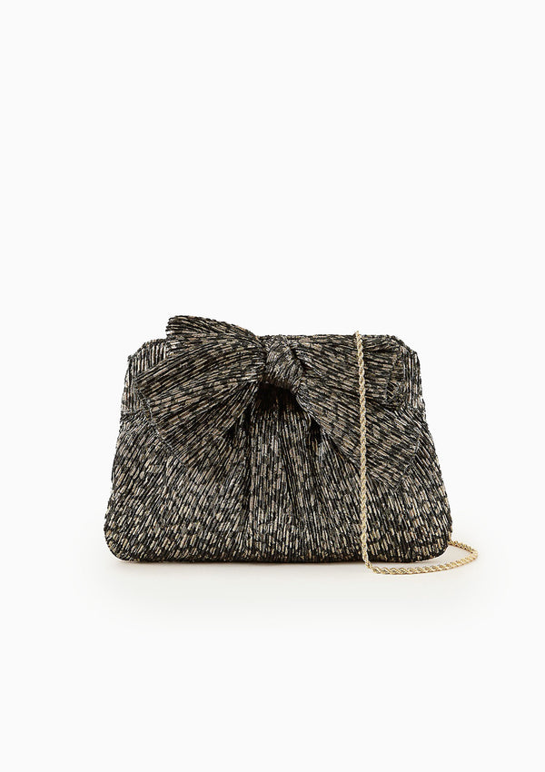 Rayne Bow Clutch | Black/Champagne