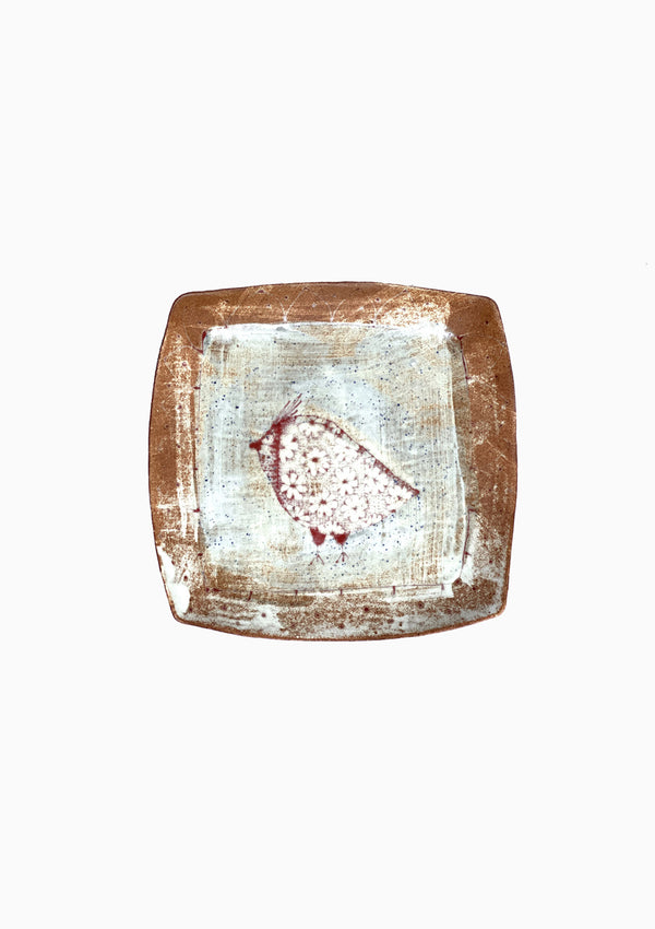 Large Square Platter Single Bird 2